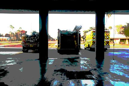 Firetrucks exit