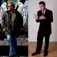 Photo of comedians Lou Angelwolf and Jeff Gerbino.